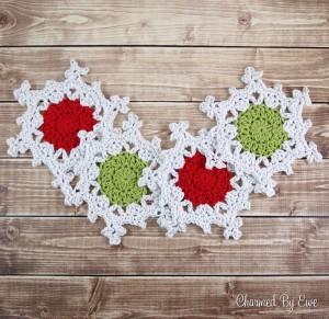 Snowflake Coasters (photo taken with Olympus digital camera)