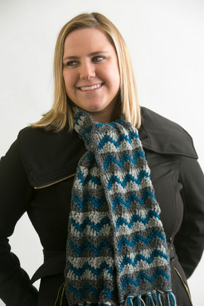 This beautiful pattern for an Icy Blue Scarf uses the triple crochet stitch.