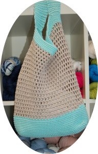 Conveniently located near the Katia cotton and BioSoft was the perfect project to give to my favorite Whole Foods shopper: a crocheted market bag. The store pattern is free with your yarn purchase.