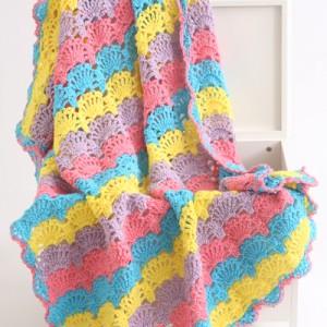 Fiesta Crochet Shell Stitch Afghan