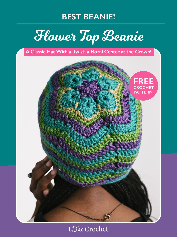 Flower Top Beanie: Boho-Style Free Crochet Beanie Pattern