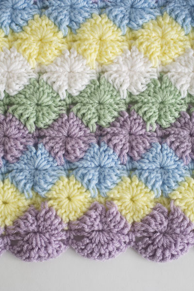 This beautiful throw blanket pattern uses the Bavarian stitch