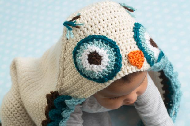 Owl Hooded Baby Blanket