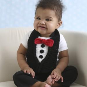 Pretty Spiffy Tuxedo Crochet Baby Bib