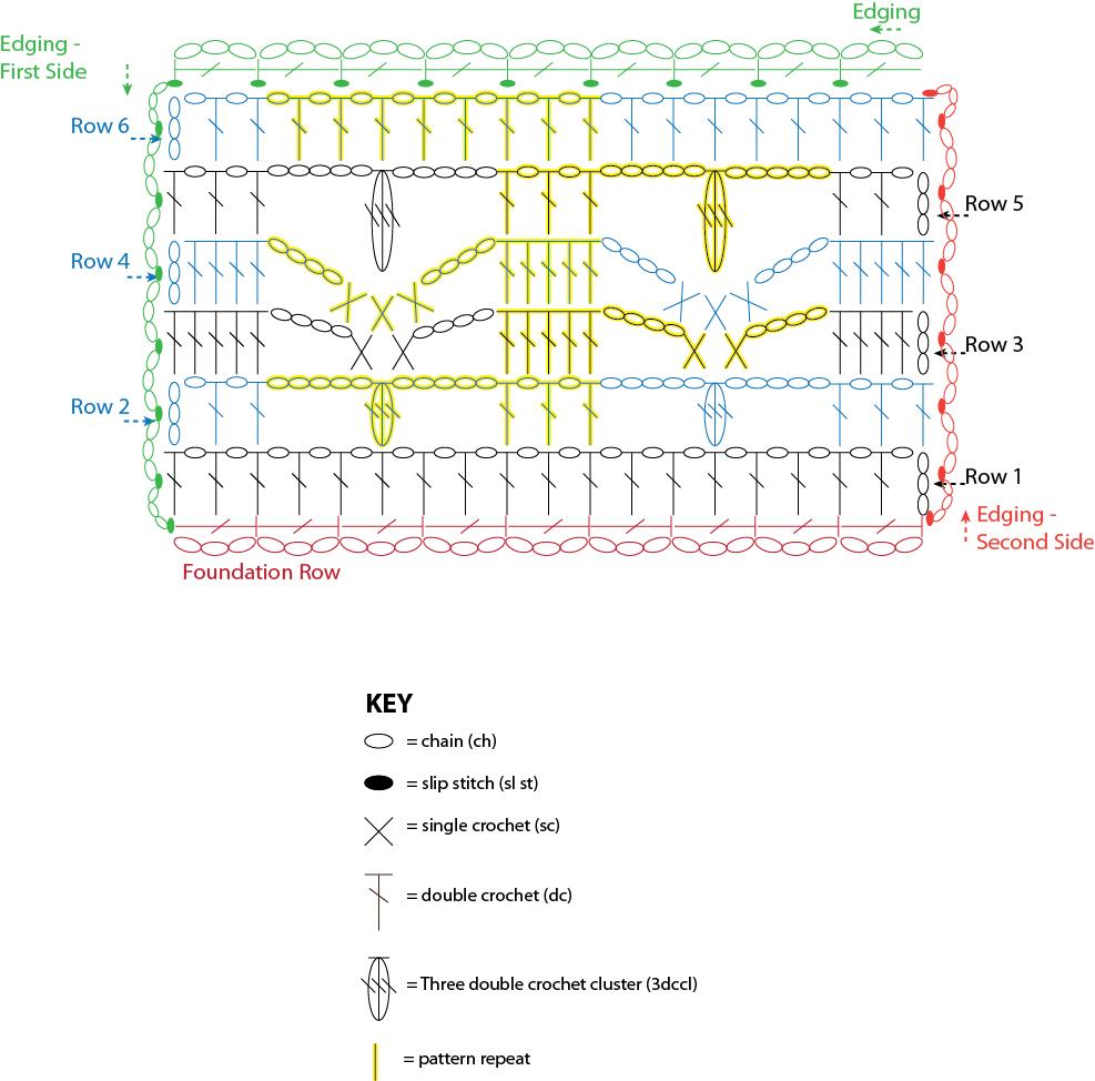 Exquisite Merlot Stole I Like Crochet Single Diagram Chart And Key