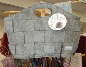 Basket Case Tote from Gleener is a soft felted tote with ample storage inside for your yarn, and the woven exterior would make a pretty display spot for your hooks.