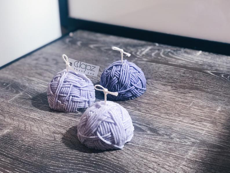 Lavender Yarn Ball Candles